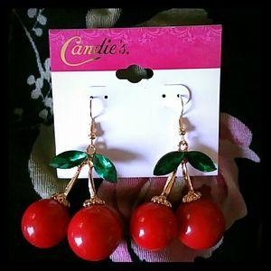 Candie's Rockabilly Red Cherry Earrings
